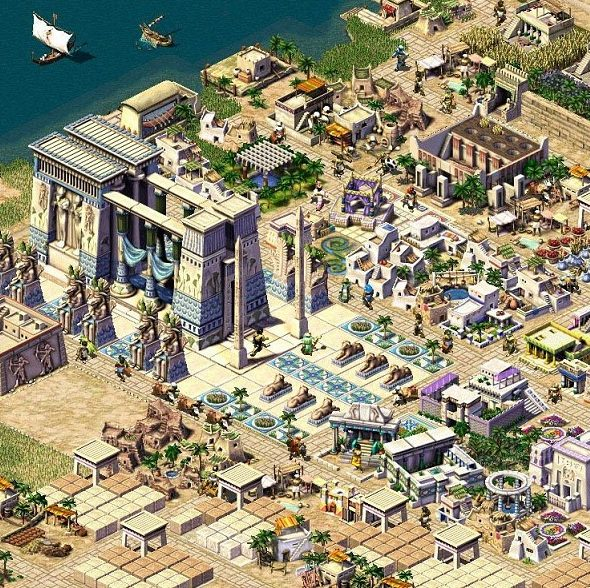 Algumas cidades possuiam complexos de templos, com bônus extras