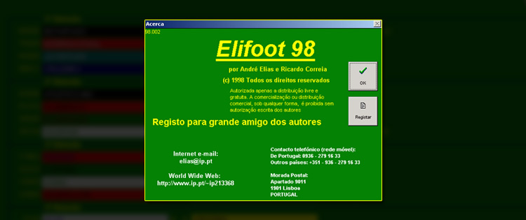 registro do elifoot 98 gratis