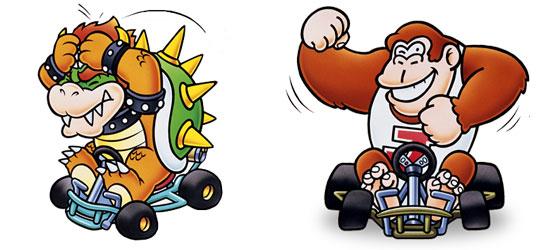 Bowser e Donkey Kong Jr. em Super Mario Kart