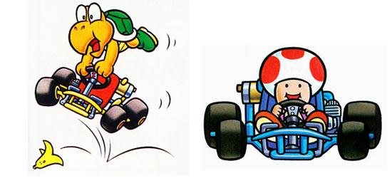 Koopa Troopa e Toad em Super Mario Kart