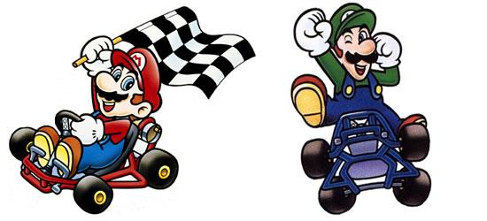 Mario e Luigi em Super Mario Kart