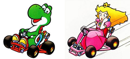Yoshi e Peach em Super Mario Kart
