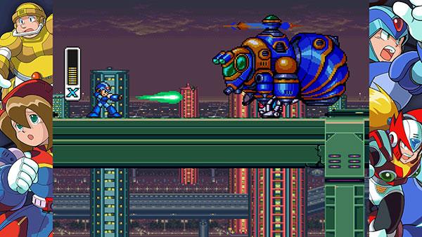 """Mega Man X em sua fase inicial, enfrentando o """"inimigo-abelha"""""""
